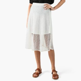 GTW Party Lace-overlay Midi Skirt (White)