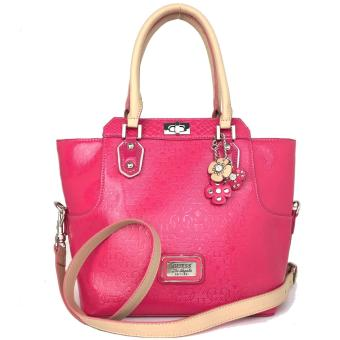 GUESS Britton Turnlock Satchel Bag (Hot Pink)