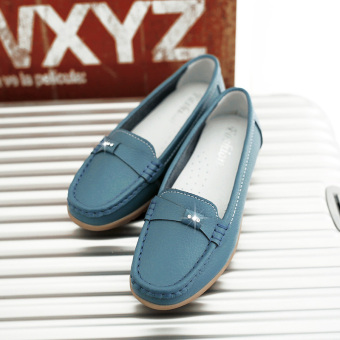 Gum outsole white breathable mother moccosins nurse shoes (816 [Blue])