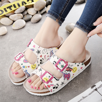 Guoluofei female outerwear thick bottomed sandals and slippers shoes cork slippers (101 animal pattern graffiti)
