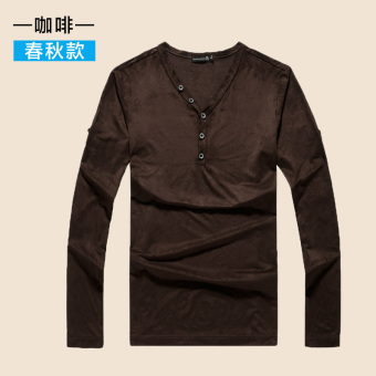 Guxing casual solid color v-neck base sweater I long-sleeved t-shirt (PARK'S color)
