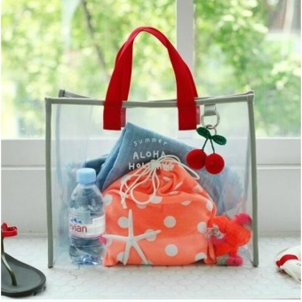 GX 2017 Spring And Summer New Transparent Picture Jelly Bag Largecapacity Portable Bag Storage Bag Beach Bag Handbag Large Bag (Red) - intl
