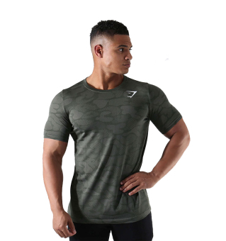 Gym camouflage quick-drying breathable thin T-shirt I fitness clothes (Green)