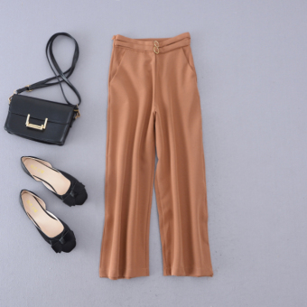 H Korean version of the solid color New style high-waisted wide leg pants