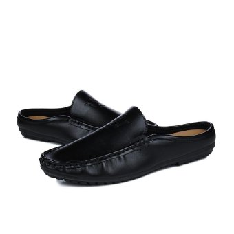 Half Dragged Shoes Men Beach Shoes Loafers Slip-on Summer Sandals(Black) - intl - 4