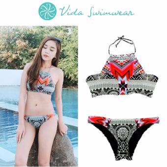 Halter Bikini Ethnic Style Tribal Boho Print Two Piece Swimwear Set Womens' Swimwear