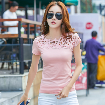 Han Banchun cotton lace T-shirt shirt solid color Top (Pink short-sleeved) (Pink short-sleeved)