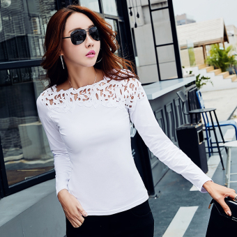 Han Banchun cotton lace T-shirt shirt solid color Top (White long-sleeved