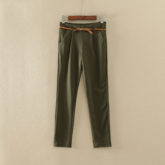 Han Xi A 778 solid color slimming harem pants (Army Green)