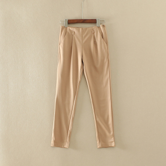 Han Xi A 778 solid color slimming harem pants (Khaki (color random hair))
