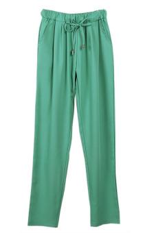 HANG-QIAO Casual Chiffon Harem Pants Green