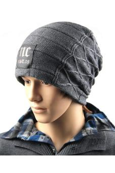 Hang-Qiao Fashion Men Knitted Beanie Hat Skull Cap Dark Grey - picture 2