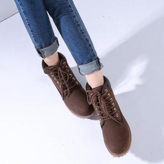 Hang-Qiao Fashion Women Ankle Martin Boots Military Combat Shoes Brown - 2