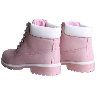 Hang-Qiao Fashion Women Ankle Martin Boots Military Combat Shoes Pink - 3