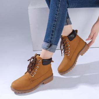 Hang-Qiao Fashion Women Ankle Martin Boots Military Combat Shoes Yellow