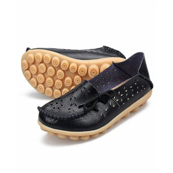 Hang-Qiao Flats Shoes Women Loafers Ladies Slip on Shoes (Black) -intl - 3