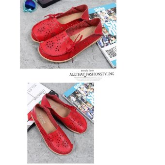 Hang-Qiao Flats Shoes Women Loafers Ladies Slip on Shoes (Red) - intl - 3