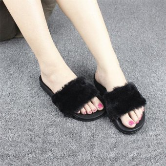 Hang-Qiao Fluffy Women Flat-Heeled Flat Comfortable Slippers (Black) - intl