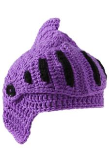 Hang-Qiao Hand-Knit Beanie Knight Masks Cap (Purple)
