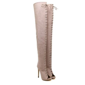 Hang-Qiao High Bangdage ROM Boots Sexy High-Heeled Shoes (Apricot) - intl