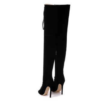 Hang-Qiao High Bangdage ROM Boots Sexy High-Heeled Shoes (Black) - intl - 2