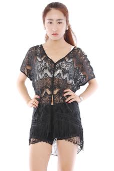 Hang-Qiao Hollow Seaside Beach Blouse Tassel Lace Shirt (Black)