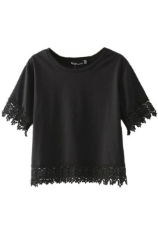 HANG-QIAO Lace Stitching Tops Tshirts (Black)