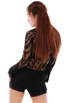 Hang-Qiao Long Sleeve Lace Blouse For Women (Black) - picture 2