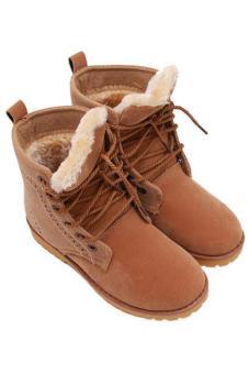 Hang-Qiao Lovers Unisex Martin Boots Winter Snow Warm Shoes Khaki - 4