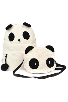 Hang-Qiao Panda Bear Backpack and Shoulder Bag 2-Piece Set (Beige)