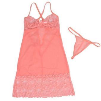 Hang-Qiao Sexy Lingerie Women Nightwear Underwear Sleepwear Pink