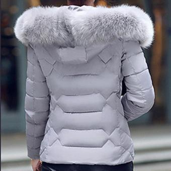 Hang-Qiao Short Down Jacket Women Warm Thick Heavy Coats (Grey) -intl - 4