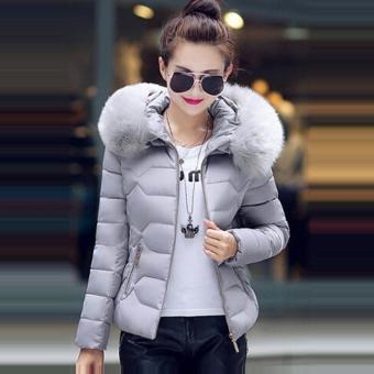 Hang-Qiao Short Down Jacket Women Warm Thick Heavy Coats (Grey) -intl - 3
