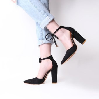 Hang-Qiao Thick Heels Ankle Strap Suede Sandals High-heeled PointedPumps (Black) - intl - 3