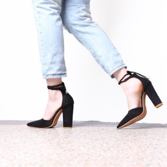 Hang-Qiao Thick Heels Ankle Strap Suede Sandals High-heeled PointedPumps (Black) - intl - 5