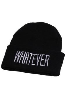 Hang-Qiao Warm Plain Beanie Hip-hop Ski Knit Hats Unisex Black