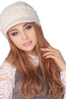 Hang-Qiao Warm Women Knitted Beret Hat Autumn Winter Cap White - 5