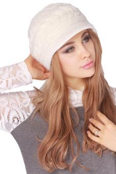 Hang-Qiao Warm Women Knitted Beret Hat Autumn Winter Cap White - 3