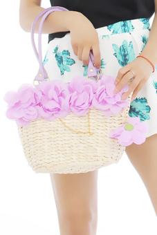 Hang-Qiao Women 5-Flowers Bags Straw Woven Handbag Purple - picture 2