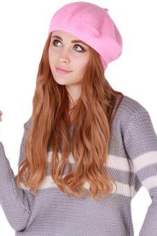 Hang Qiao Women Beret Cap Vintage Solid Color Beanie Hat ClassicBerets Pink