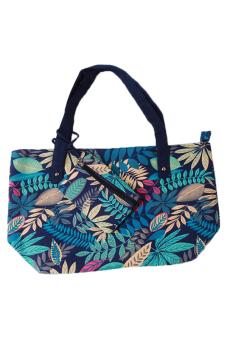 Hang-Qiao Women Canvas Shoulder Bags Leaf Print (Blue)