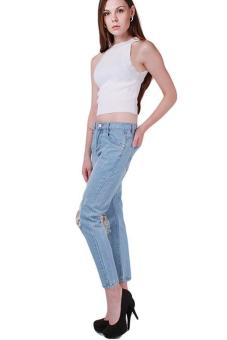 Hang-Qiao Women Denim Jeans Big Hole Ripped Designer Pants Blue
