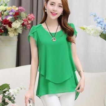 Hang-Qiao Women Loose Shirt O-Neck Chiffon Short Sleeve Blouse (Green)