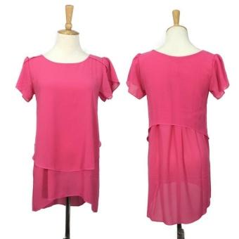 Hang-Qiao Women Loose Shirt O-Neck Chiffon Short Sleeve Blouse(Rose) - intl - 2