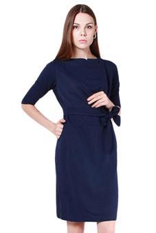 Hang-Qiao Women O-Neck Half Sleeve Dress Dark (Blue)