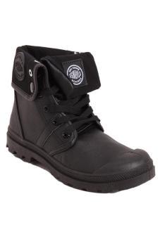 Hang-Qiao Women PU Martin Boots High Cut Tube Down Shoes Black - 3