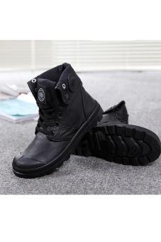 Hang-Qiao Women PU Martin Boots High Cut Tube Down Shoes Black - 4