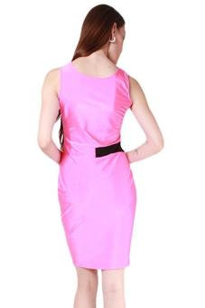 Hang-Qiao Women Sleeveless Pencil Dress Rose Red