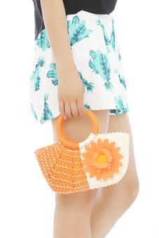 Hang-Qiao Women Sunflower Straw Woven Bag (Orange) - picture 2