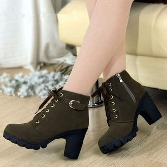 HangQiao Women Boots Thick With High Heeled Bandage Martin Shoes (Army Green)